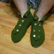 Изготовление вязаных тапочек-носков фото