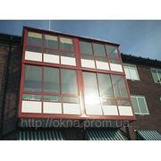Теплая балконная рама в цвете с теклопакет с триплекс-стеклом фото