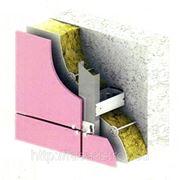 Монтаж фасадной системы с применением керамогранита фото