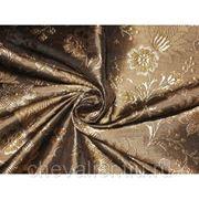 Шелк коричневый, золотой фото