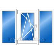 Трёхстворчатое пластиковое окно ПВХ 1420*2680 мм фото