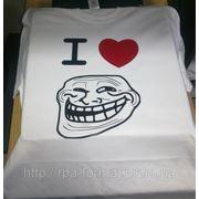 """Нанесение на футболку """"I love trolling"""" фото"""