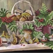 Рисунок на ткани под вышивку бисером Лукошко с грибами КМР 4050 фото