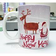 Кружки белые керамические новогодние фото
