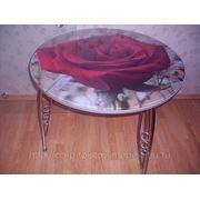 Круглый стеклянный стол (светлана)№22 фото