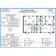 Покрытие фотолюминесцентной пленкой планов эвакуации. фото