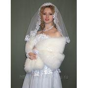 Прокат свадебной накидки-палантина из песца фото