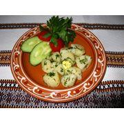 Картопля відварна з часником і кропом — Картофель отварной с чесноком и укропом фото