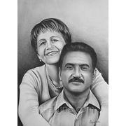 Парный, семейный портрет сухой кистью на заказ фото