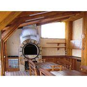 """Кухня для загородного дома из массива лиственницы """"Капитан"""" фото"""
