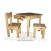 Комплект детской мебели деревянный натуральный цвет: стол с ящиком, стул, табурет фото