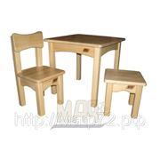 Комплект детской мебели натуральный цвет: стол без ящика, стул, табурет фото