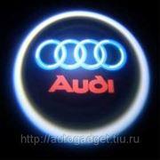 Подсветка в двери с логотипом авто AUDI фото