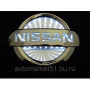 Эмблема светодиодная 3D NISSAN 10,6х9cм. White
