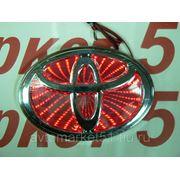 Эмблема светодиодная 3D TOYOTA 13х9см. Red фото