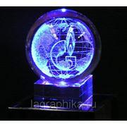 3Д (3D) логотип в стекле - лазерная гравировка фото