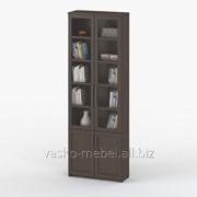 Шкаф книжный, Васко СОЛО 037 Корпус венге, фасад венге/стекло фото