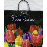 Пакет с пластмассовыми ручками (38х35+10) Цветочная радуга лам 10/10 фото