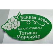 Бейджи пластиковые именные (зеленый/белый) фото