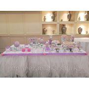 Candy bar в салатово-сиренево-розовой цветовой гамме фото