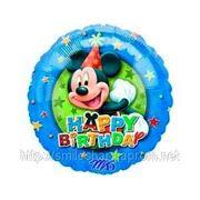 Шар Микки Маус «С Днем Рождения», надутый гелием фото