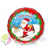 Шарик фольга Новый год Санта на лыжах фото