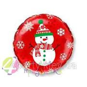 Шарик фольга Новый год Снеговик на красном фото