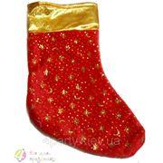 Носок для подарка новогодний красный с золотом (звезды, снежинки) фото