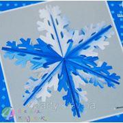 Фигура Снежинка №4 фольгированная серебристо-синяя 60 см. фото