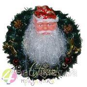 """Венок на дверь (искусств.ель) """"Дед Мороз"""" фото"""