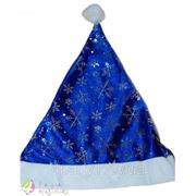 Шапка Деда Мороза синяя снежинки фото
