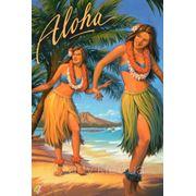 Магнит Гавайский Алоха (девушки) фото