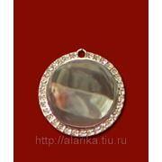 Медальон круглый со стразами 32х32мм с нанесением изображения