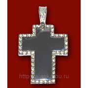 Крест со стразами 33х42мм с нанесением изображения фото
