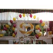 Украшение зала (шары, цветы, фатин) фото