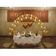Оформление шарами Свадебного президиума фото