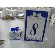 Номерок на гостевой стол в синем цвете фото
