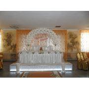 Стол молодоженов с аркой из белых шаров фото