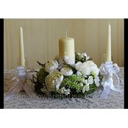 Свадебная композиция и арка на прокат,оформление выездной церемонии цветами. фото