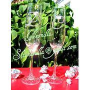 Инкрустация свадебных бокалов кристаллами Сваровски (Swarovski)