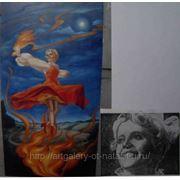 Оригинальный портрет на заказ «Огневушка-поскакушка» х\м, 43x84см