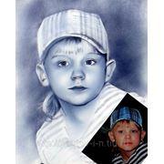 Портрет мальчика с фотографии в технике сухая кисть