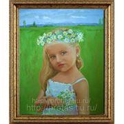 Портреты детей, портрет девочки с венком по фотографии, портрет с фото девочки фото