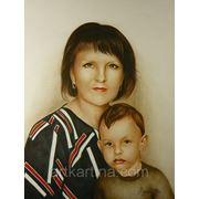 Парный погрудный портрет сухой кистью в цвете.Графика. фото