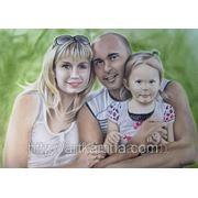 Семейный цветной портрет сухой кистью фото