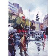 Дождливая Москва, акварель фото