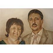 Семейный портрет.Портрет на заказ по фото.Сухая кисть. фото