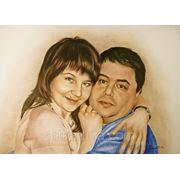 Семейный портрет сухой кистью.Подарок родителям.Графика. фото