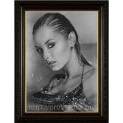 Портрет с фото купальщицы,художник Владислав Протасов, картина с фотографии, сухая кисть