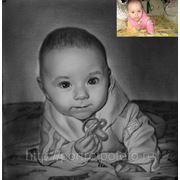 Маленькая Анютка, портрет с фотографии,современный портрет сухая кисть Москва фото